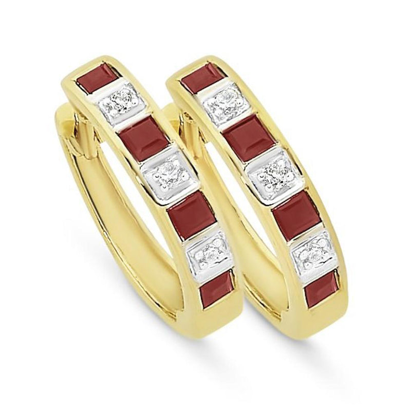 9Ct Gold Natural Ruby & Diamond Huggies