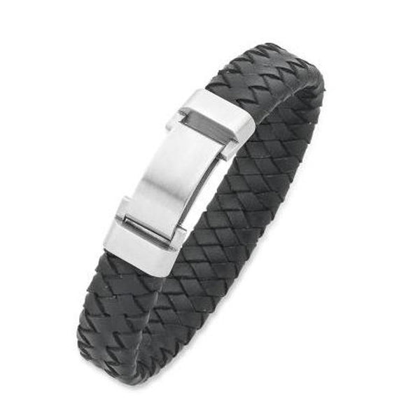 Leather Band Bracelet With Stainless Steel Bracelet