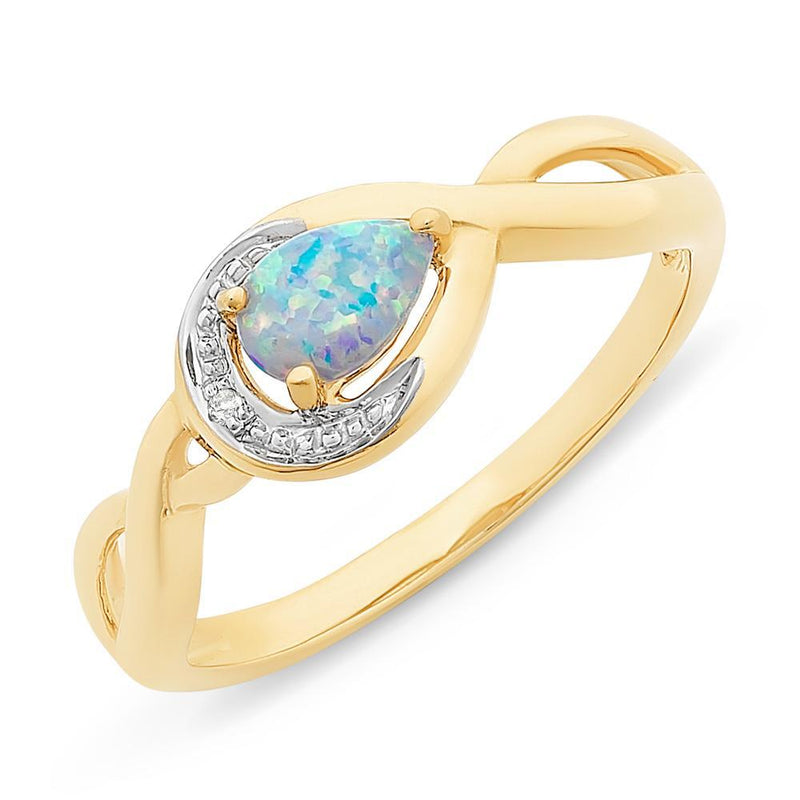 9Ct Gold Created Opal And Diamond Ring