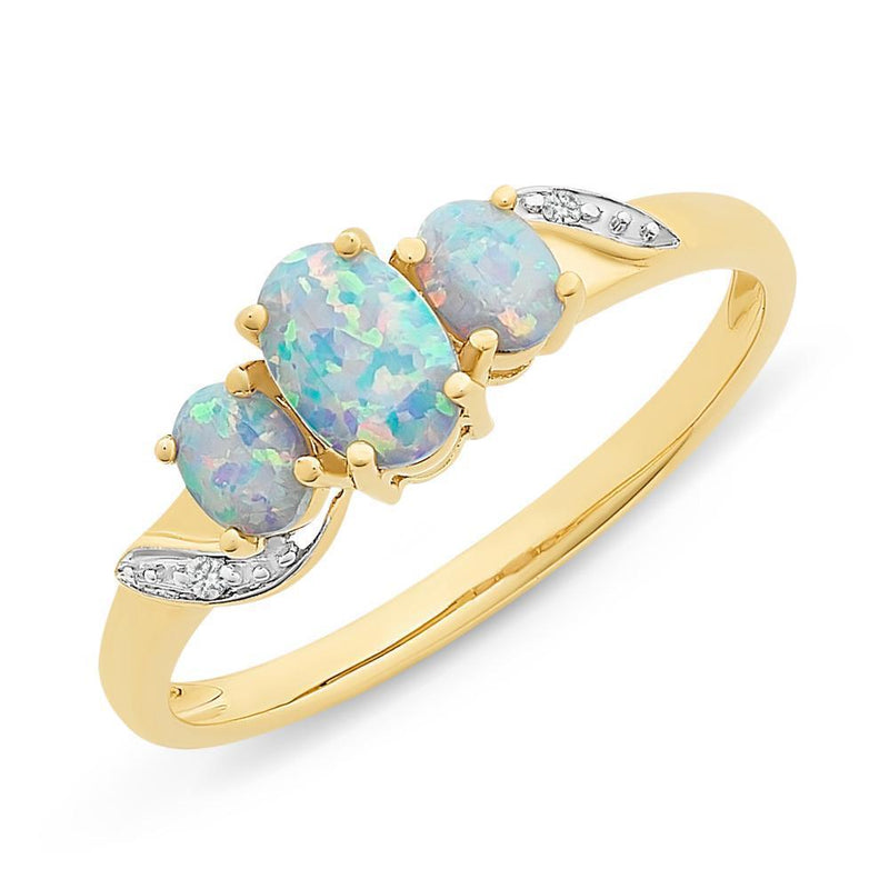 9Ct Gold Created Opal & Diamond Ring