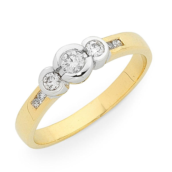 9Ct Gold 0.25Ct Diamond Trilogy Ring