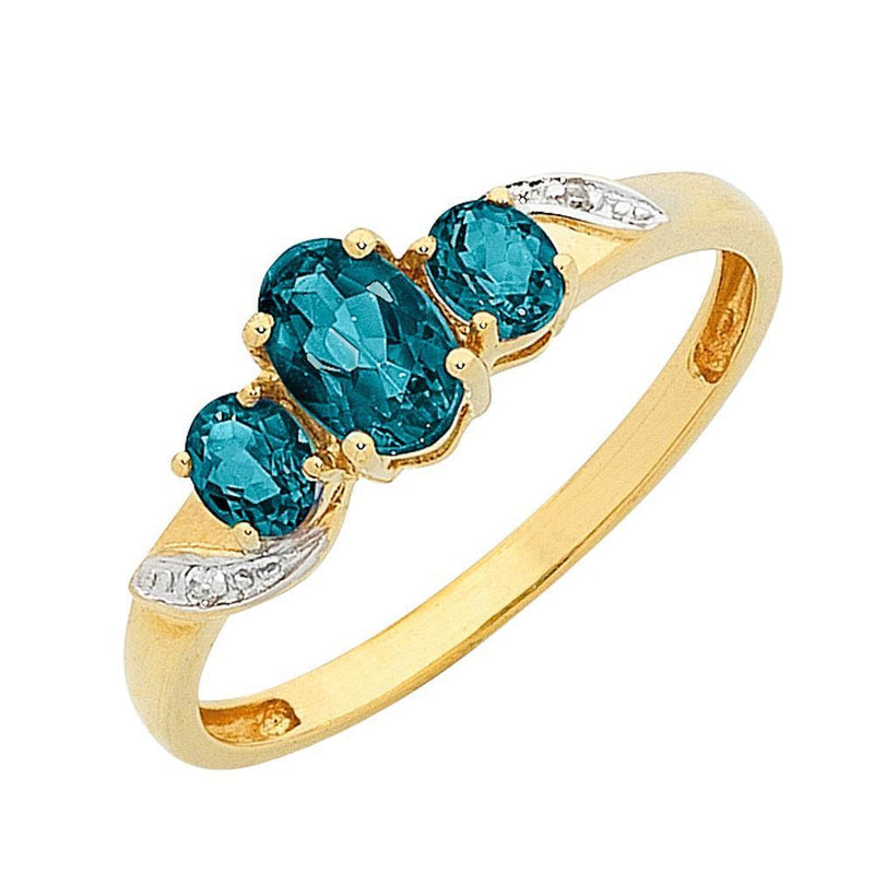 9Ct Gold London Blue Topaz & Diamond Ring