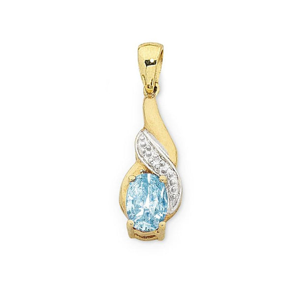 9Ct Gold Blue Topaz & Diamond Pendant