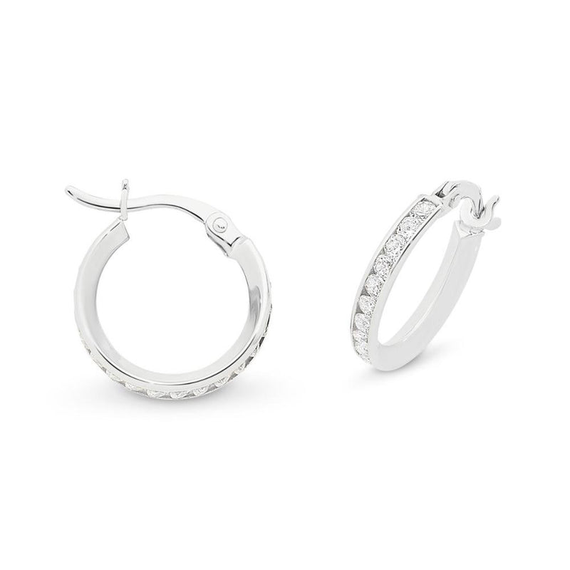 9Ct White Gold Hoops With Cubic Zirconia