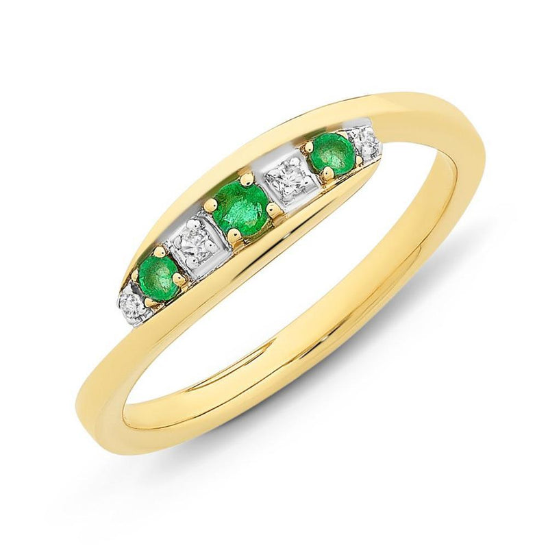 9Ct Gold Natural Emerald & Diamond Ring