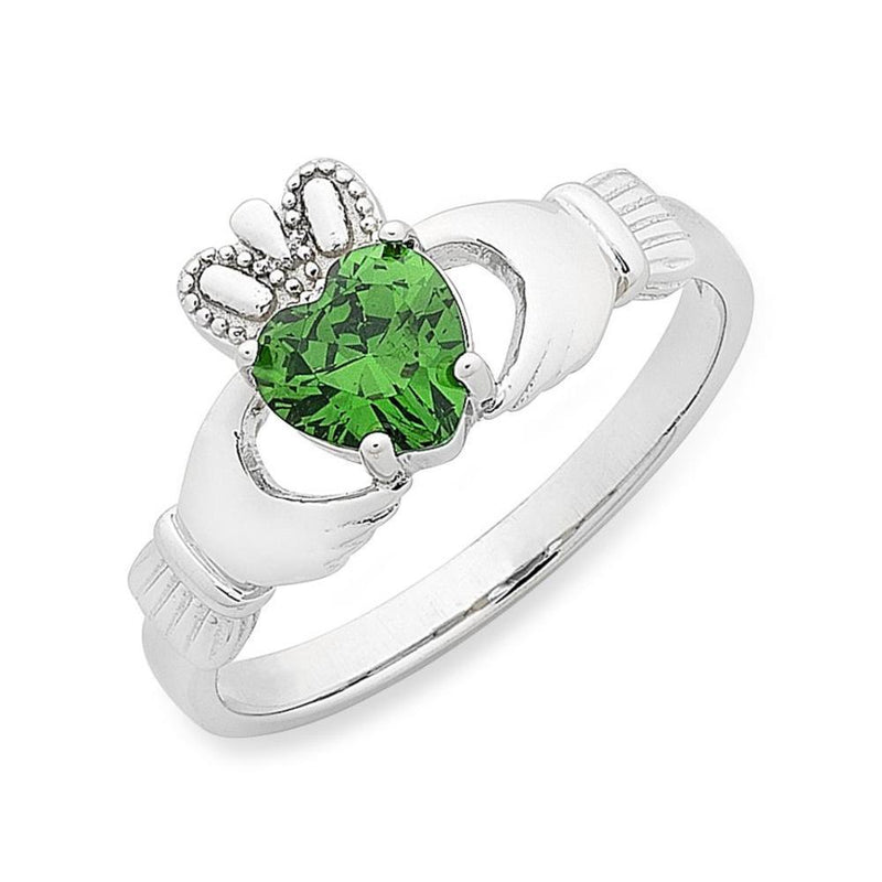 Sterling Silver Cubic Zirconia 'Claddagh' Ring