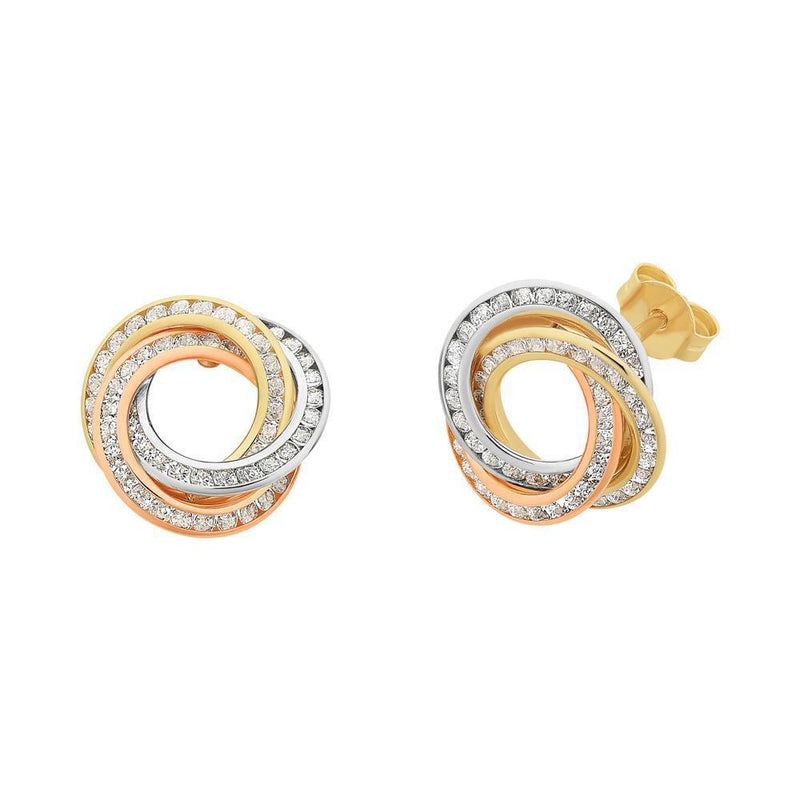 9Ct Gold Tri Tone Cubic Zirconia Earrings