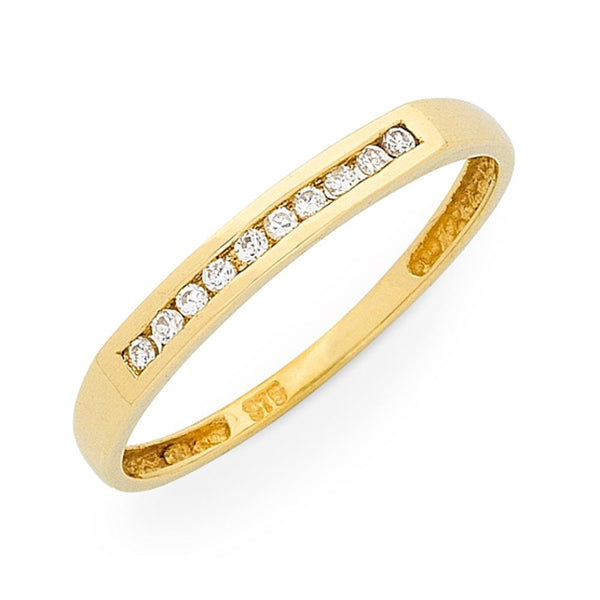 9Ct Gold Diamond Channel Set Ring