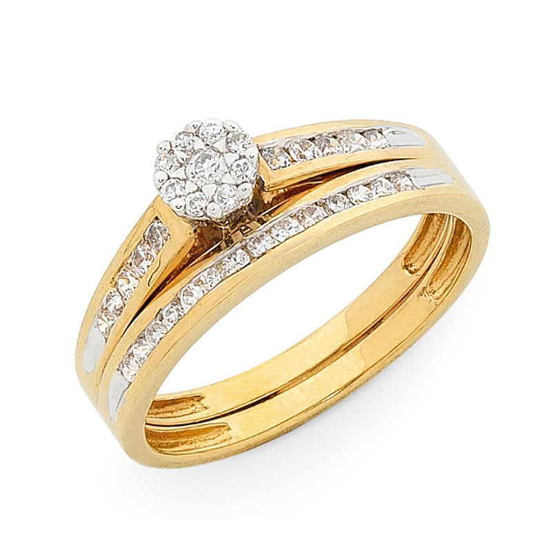 9Ct Gold 0.33Ct Diamond Bridal Set