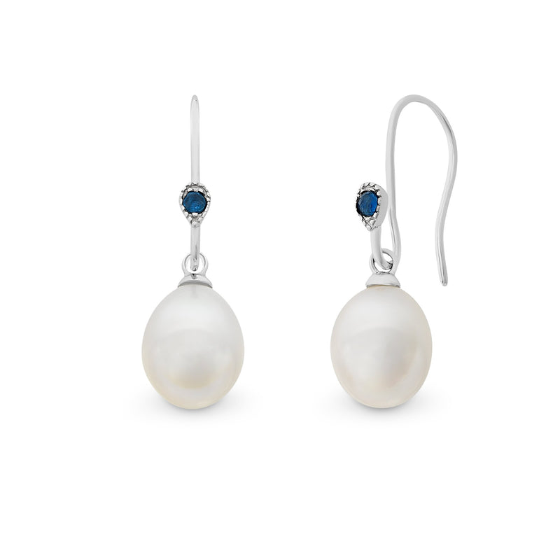 Sterling Silver Natural Sapphire & Freshwater Pearls Earrings