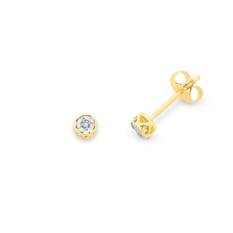 9Ct Gold Diamond Set Stud Earrings