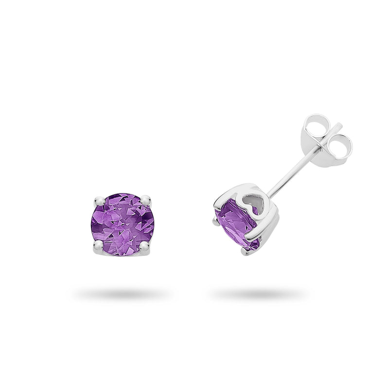 Sterling Silver Amethyst Stud Earrings
