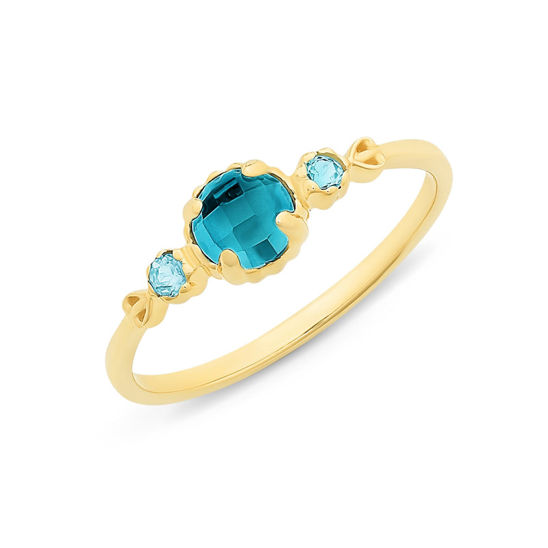 9Ct Gold London Blue Topaz & Blue Topaz Ring