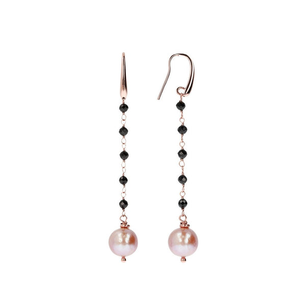 Bronzallure Black Spinel And Rose Pearl Dangle Earrings