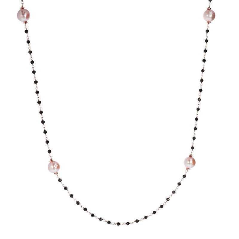 Bronzallure Black Spinel And Rose Pearl Long Necklace