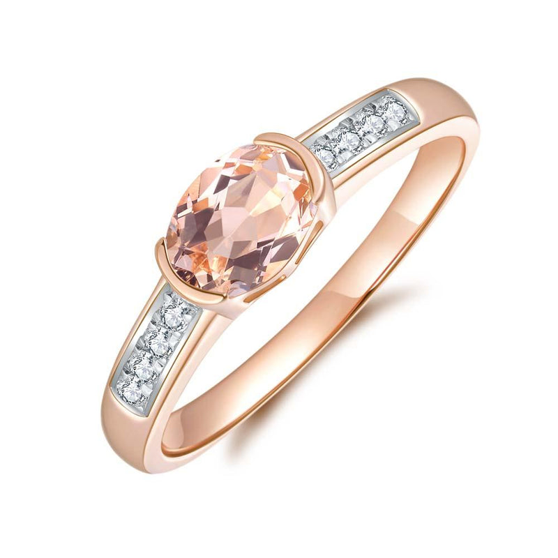 Morganite & Diamond Ring in 9ct Rose Gold