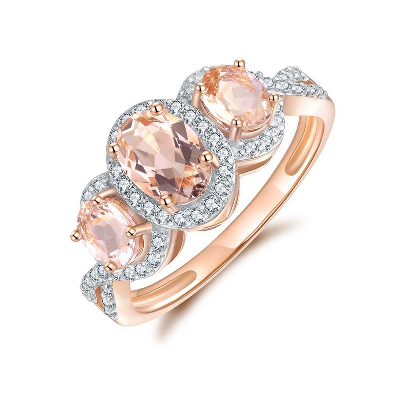 Morganite & Diamond Dress Ring in 9ct Rose Gold