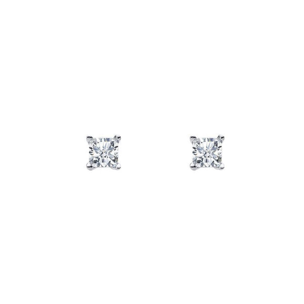 Sterling Silver 4mm Princess Cut Cubic Zirconia Claw Stud Earrings