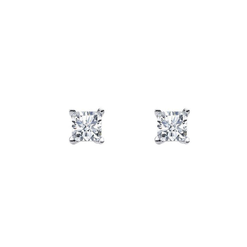 Sterling Silver 5mm Princess Cut Cubic Zirconia Claw Stud Earrings