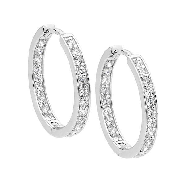 Sterling Silver 18mm Cubic Zirconia Hoop Earrings