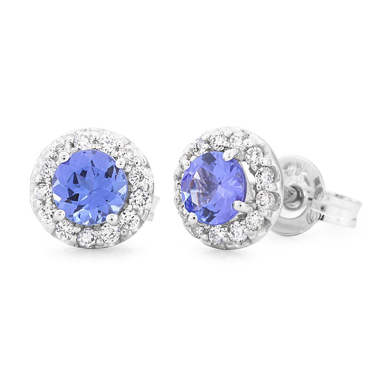 Tanzanite & Diamond Halo Stud Earrings in 9ct White Gold