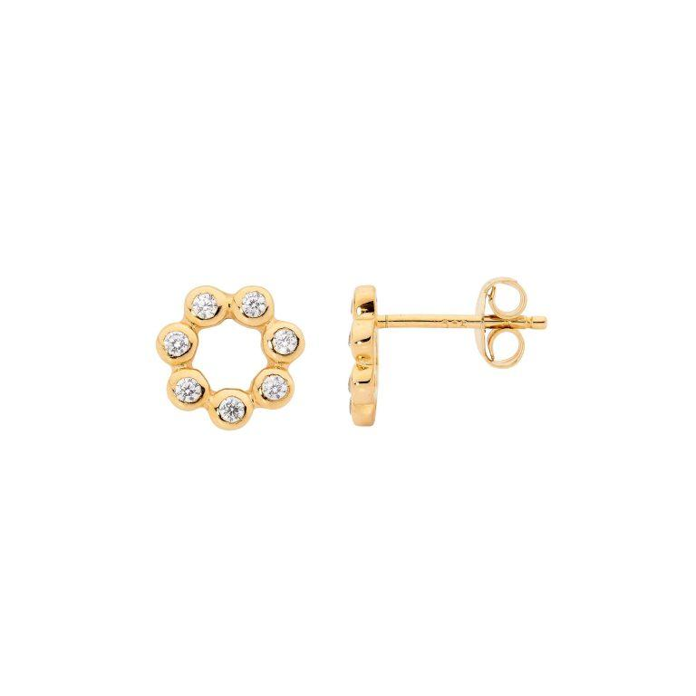 Sterling Silver Cubic Zirconia Bezel Set Open Circle Stud Earrings w/ Gold Plating