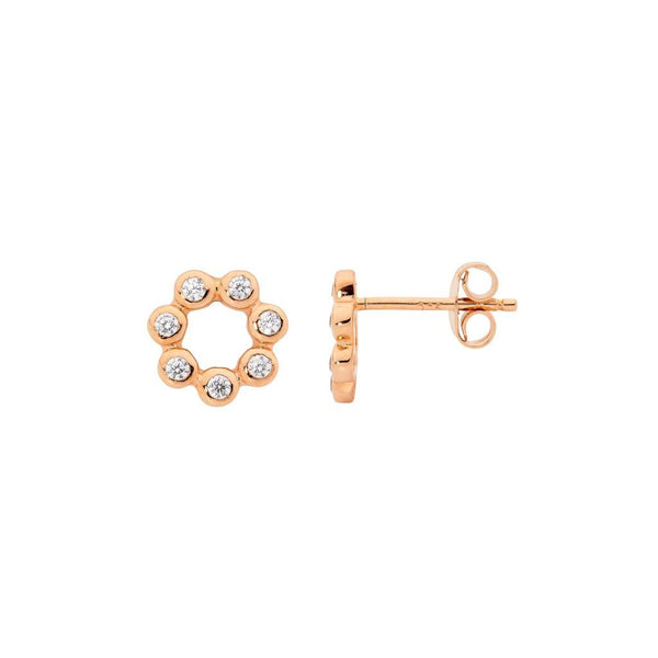 Sterling Silver Cubic Zirconia Bezel Set Open Circle Stud Earrings w/ Rose Gold Plating