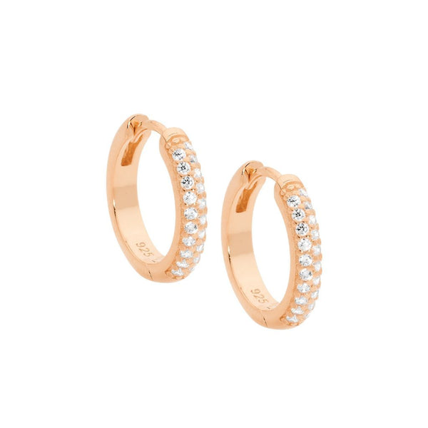 Sterling Silver Cubic Zirconia Pave 16mm Hoop Earrings w/ Rose Gold Plating