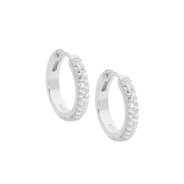 Sterling Silver Cubic Zirconia Pave 16mm Hoop Earrings