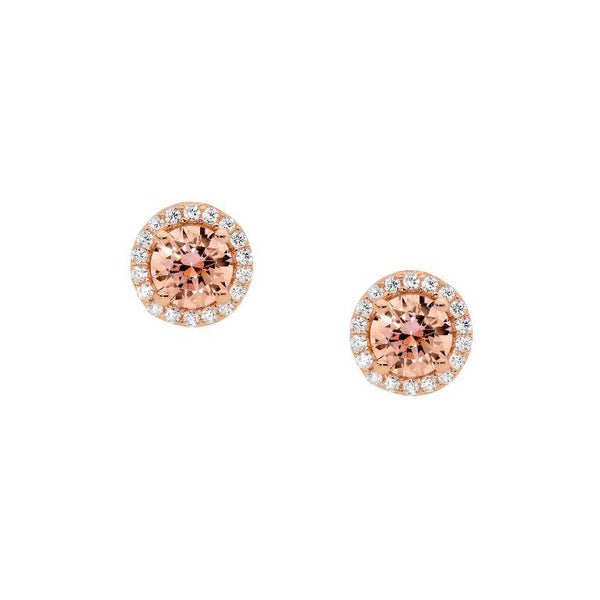 Sterling Silver Morganite Cubic Zirconia Solitaire w/  Cubic Zirconia Surround Stud Earrings w/Rose Gold Plating