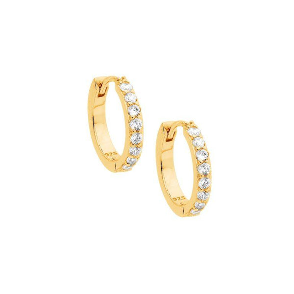 Sterling Silver Cubic Zirconia Single Row 15mm Hoop Earrings w/ Gold Plating