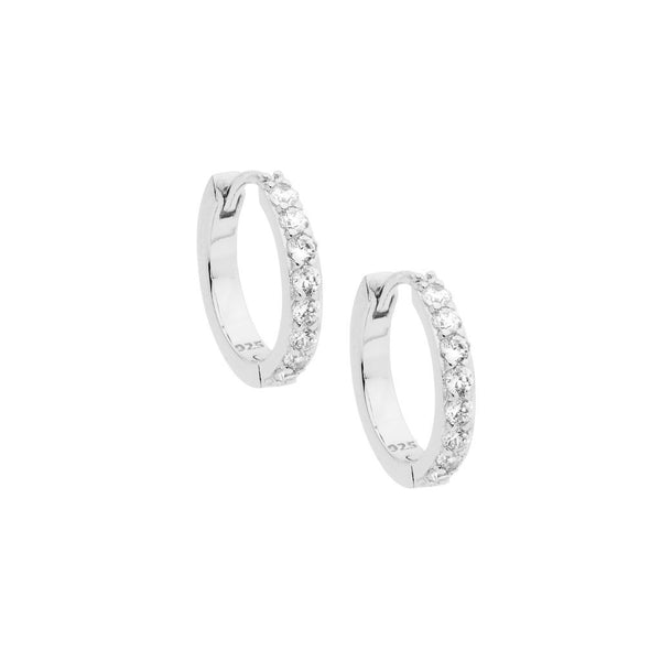 Sterling Silver Cubic Zirconia Single Row 15mm Hoop Earrings