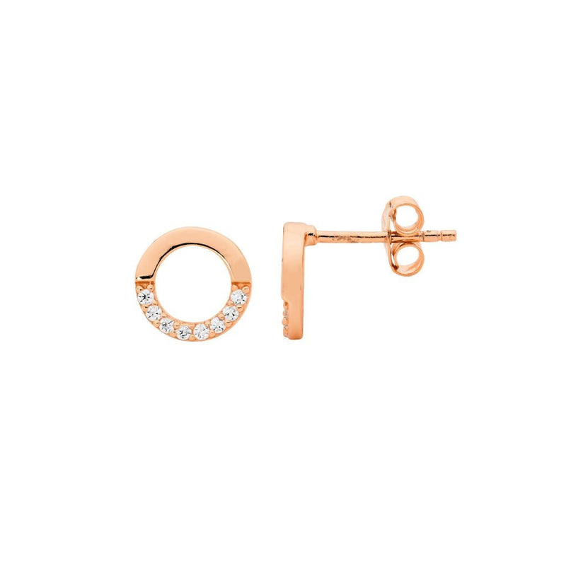 Sterling Silver 9mm Open Circle Earrings, half  Cubic Zirconia w/ Rose Gold Plating