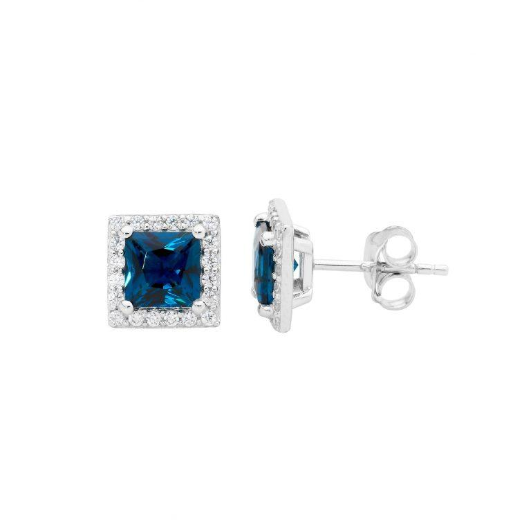 Sterling Silver London Blue 6mm Princess cut with white cubic zirconia halo earrings