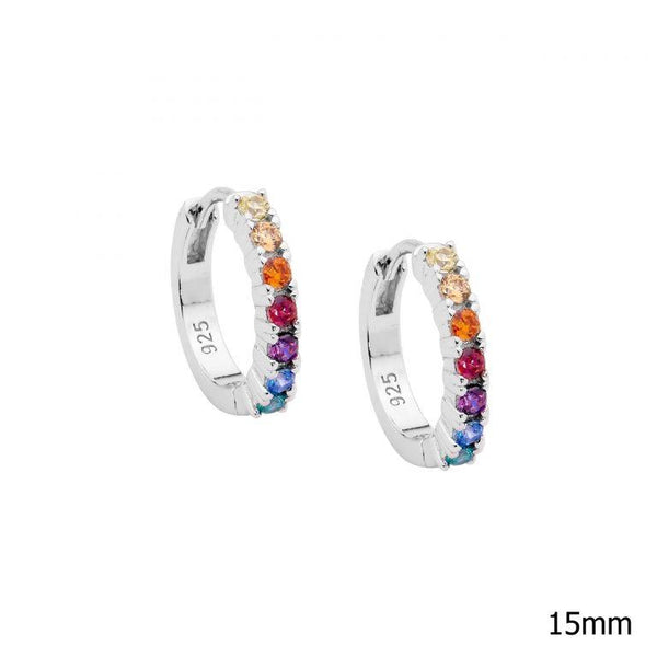 Sterling Silver Multi Colour Cubic Zirconia 14mm Hoop Earrinigs