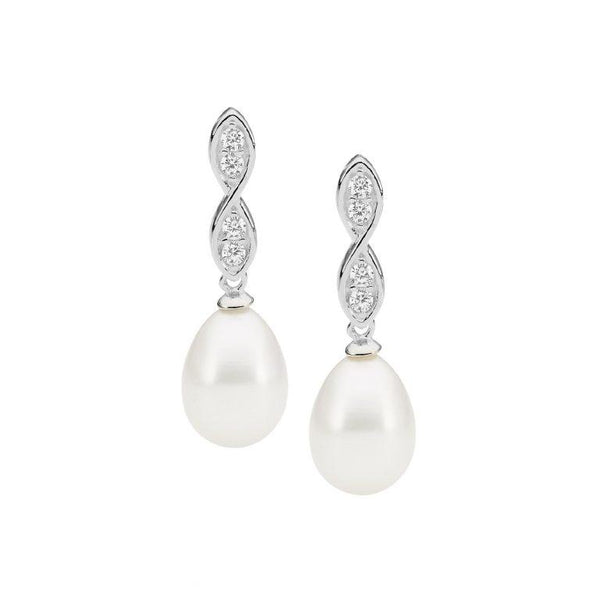 Sterling Silver Cubic Zirconia Twist Drop Earrings w/ Freshwater Pearl