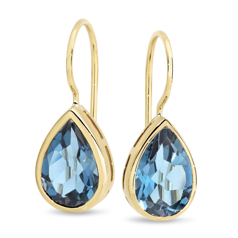 London Blue Topaz Shepherd Hook Earrings in 9ct Yellow Gold