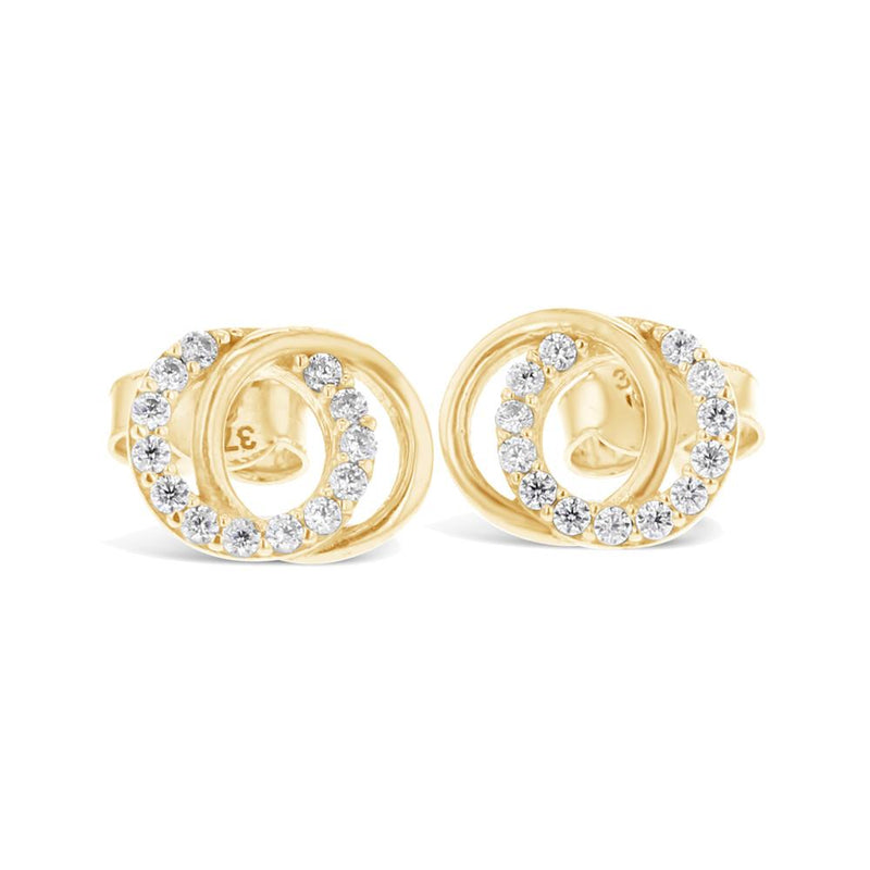 Double Circle Stud Earrings in 9ct Yellow Gold
