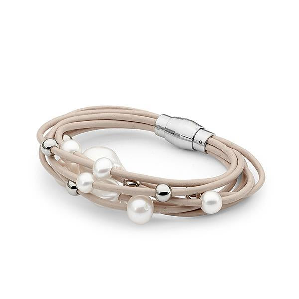 Sterling Silver & Cream LeatherFreshwater Pearl Bracelet