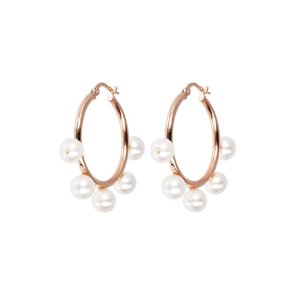 Bronzallure White Pearls Hoop Earrings