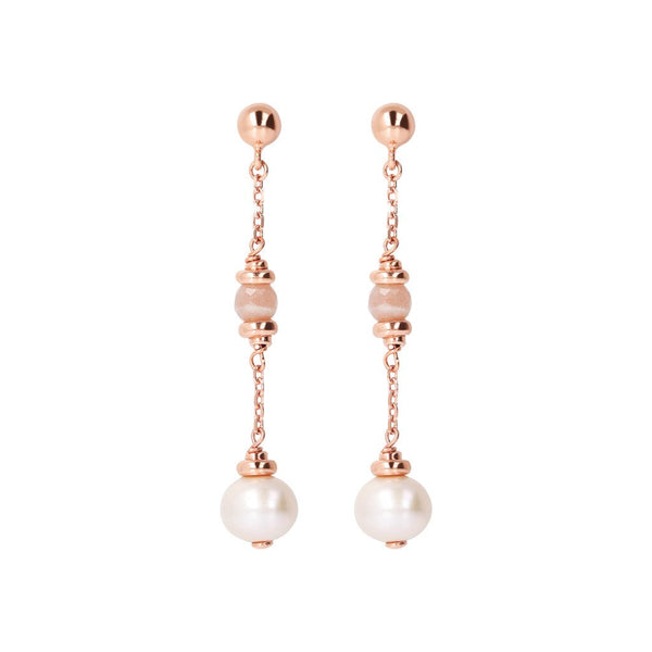 Bronzallure Long Earrings With Pearl
