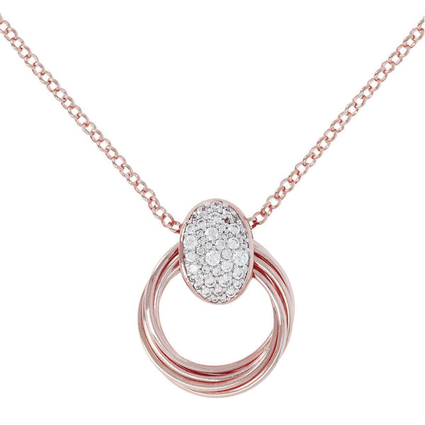Bronzallure Multicircles Link Necklace With Pave