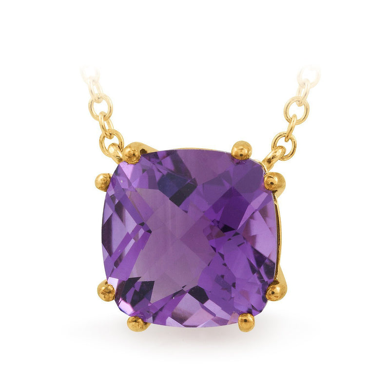 Amethyst Claw Set Pendant in 9ct Yellow Gold