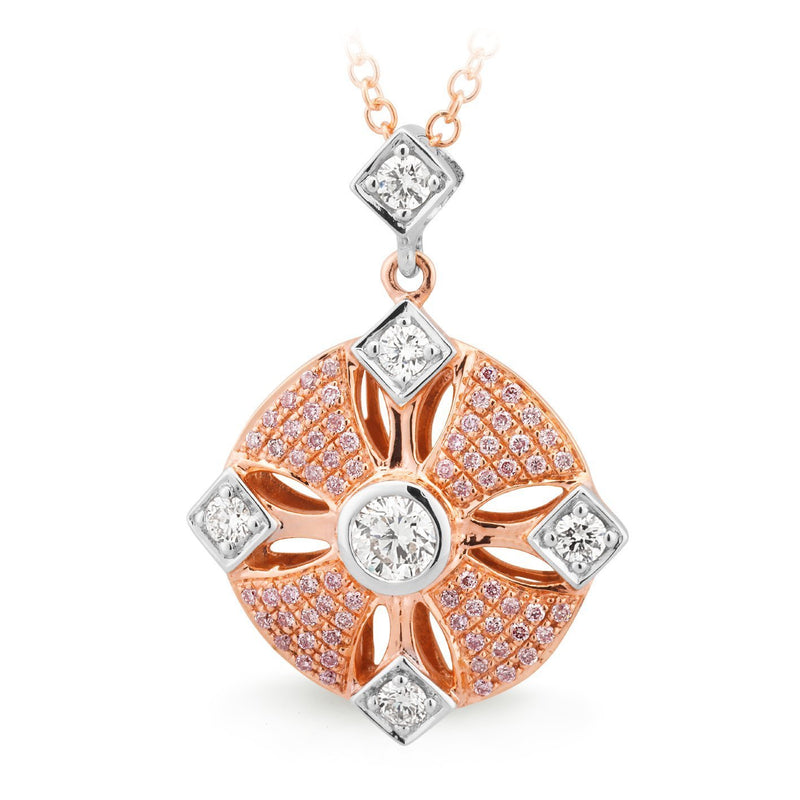 PINK CAVIAR 0.67ct Pink Diamond Pendant in 9ct Rose & White Gold