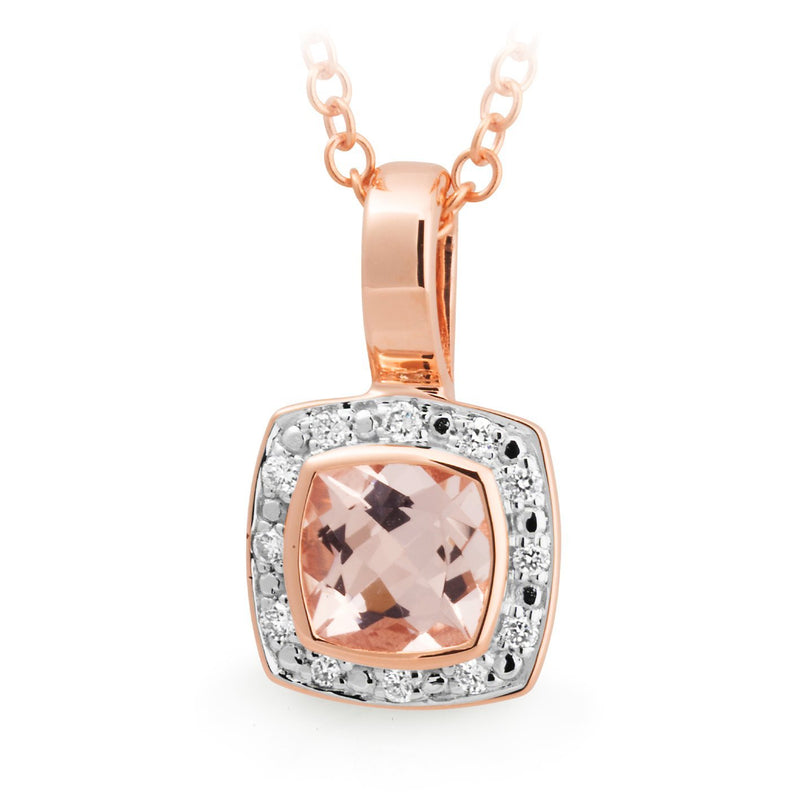 Morganite & Diamond Bezel/Bead Set Pendant in 9ct Rose Gold