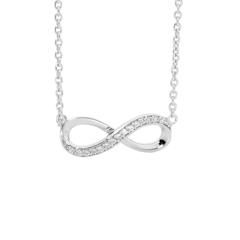 Sterling Silver w/  Cubic Zirconia Infinity Pendant w/ Attached Chain