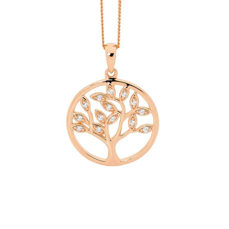 Sterling Silver Cubic Zirconia Tree of Life Pendant w/ Rose Gold Plating