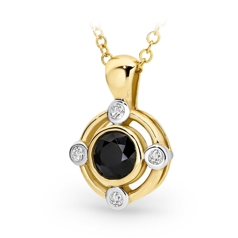 Sapphire & Diamond Pendant in 9ct White Gold