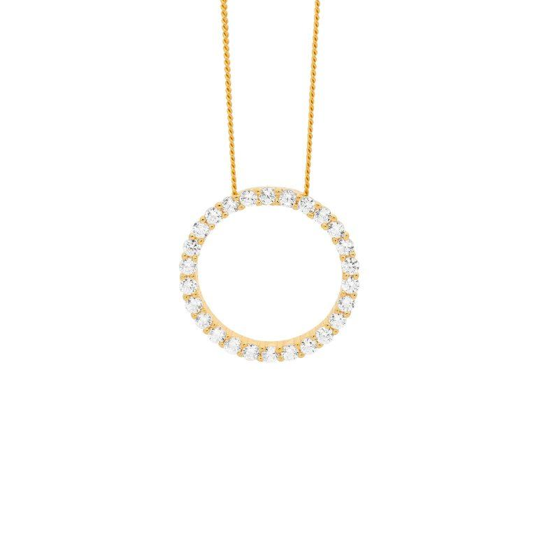 Sterling Silver Cubic Zirconia 15mm Circle Pendant w/ Gold Plating