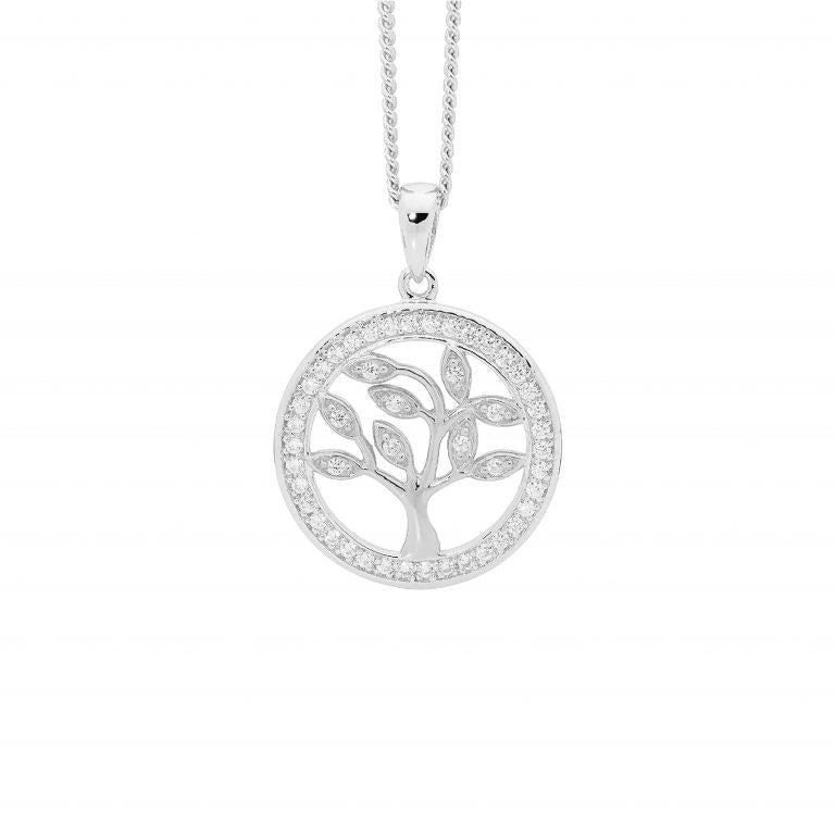 Sterling Silver Cubic Zirconia Sml 'Tree of Life' Pendant w/ Cubic Zirconia Surround
